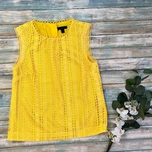 J. Crew Sleeveless Yellow Mixed Lace Lined Top 4